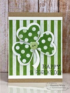Patrick's Day card: May the Luck O' the Irish Be With You! green and white. large die shamrock with embossed stitch borders on heart shaped leaves. ove the large dot and the wide striped papers. St Patrick's Day Decorations, Happy St Patricks Day, Diy St Patricks Day Cards, St Paddys Day, Greeting Cards Handmade, Homemade Cards, Making Ideas, Holiday Cards, Cardmaking
