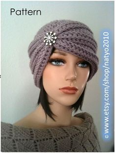 INSTANT DOWNLOAD Turban Style - Rhinestone Beanie - Crochet Pattern #crochet #turban
