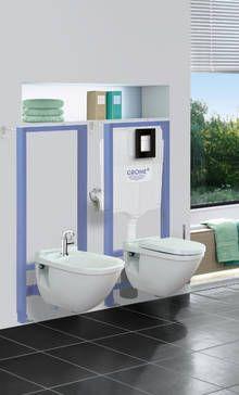 Stelaże podtynkowe Grohe - prosty sposób na komfortową i nowoczesną toaletę Cosmopolitan, Plates On Wall, Skate, Bathtub, Bathroom, Rain Shower Heads, Quartos, Bath, Standing Bath