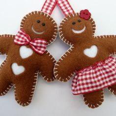 handmade Christmas tree ornament ... Super cute gingerbread .... red gingham ... brown felt ... button hole stitching ...