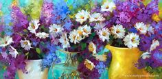 36X18 in | Oil on Deep Gallery Wrap Canvas  I love painting daisies, they last forever in vases around the studio and are the most low maintenance beauties of my flower models!  Paint with me online! Learn more here...