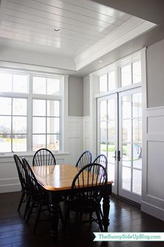 Check the height of walls in family room and dining room, above entry door, deck door and pantry door to add these divided light windows above the normal windows. V