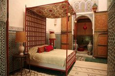 T+L's definitive guide to Fez, #Morocco names the best spots to stay, including this room at Le Jardin des Biehn.