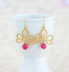 Gold Earrings, Pink and Gold Dangle Earrings, Gold Scroll Dangle Earrings With Pink Stone Beads, Dangle Earrings on Etsy, $30.00