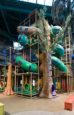 Large themed indoor playground structures we designed, manufactured and installed for the City of Edina - Edinborough Park Adventure Peak. #weBUILDfun #weDESIGNfun - we have been creating FUN since 1999.They love it so much they have designed the tree in their logo.