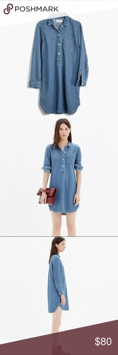 """Madewell chambray popover shirtdress Excellent condition, no flaws to note. The lining is so cute and perfect for rolling up your sleeves! // Bust approx 20.5"""" flat, length 35.25"""" from high point of shoulder (a bit shorter on sides due to curved hem) Madewell Dresses Long Sleeve"""