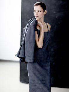 Luxe superfine wool pleated border slip dress.