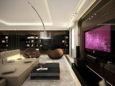 white dark wood living room