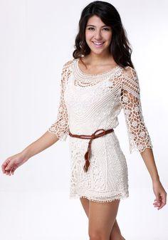 Vintage Crochet Dress - with Belt - Gorgeous Extra Lining Dress