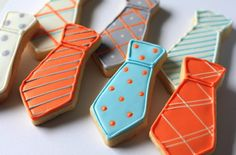 Hand Decorated Sugar Cookies Dress Ties // 1 Dozen // Birthday // Father's Day // Baby Shower // Individually wrapped and and packaged Man Cookies, Iced Cookies, Cute Cookies, Royal Icing Cookies, Cookies Et Biscuits, Yummy Cookies, Cupcake Cookies, Sugar Cookies, Flower Cookies