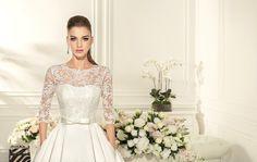 Wedding Dress Contika, Long Sleeve Wedding Dress, Lace Wedding Gown, Princess Wedding Dress, Satin Wedding, Romantic Gown