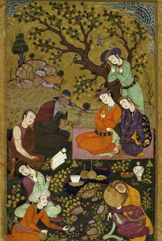 Lovers in a Garden, ca. by an anonymous Persian artist Islamic Paintings, Persian Motifs, Iranian Art, Historical Art, Illuminated Manuscript, Islamic Art, Painting Inspiration, Art History, Illustration