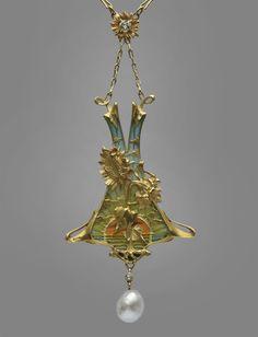"""Art Nouveau Gold, Plique-a-Jour Diamond And Pearl """"Helianthus"""" Pendant By Leopold Albert Marin Gautrait (1865-1937)  -  French  c.1900"""
