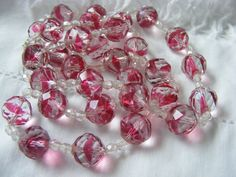 Rare Vintage Art Deco Czech Cranberry Flash Faceted Glass Crystal Bead Necklace
