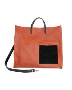 Love this: Simple Tote In British Tan Leather With Black Suede Patch Pocket @Lyst