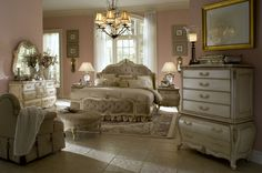 Traditional Antique White Bedroom