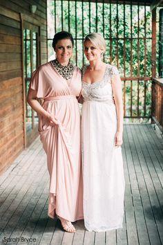 Pink maxi dress with bat wings sleeves Bridesmaids maxi Pink