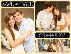 Emily and Josh's save the date, with their dog Charlie