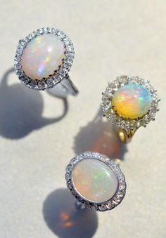 Opal & Diamond Engagement Rings
