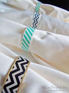 Washi Tape Napkin Rings. So clever! #washitape #washitapenapkinrings #washitapedinner