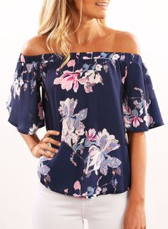 Slash Neck Floral Print Blouse | victoriaswing