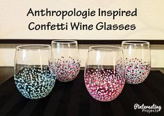 DIY Anthropologie Inspired Confetti Wine Glasses from inexpensive, stemless wine glasses. | Pinterestingprojects.com