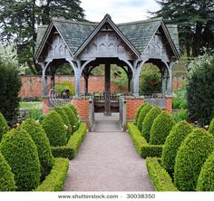 Photo about Formal English Garden area with Summerhouse seating area. Image of flowers, heritage, plants - 9288666 Big Garden, Garden In The Woods, Garden Sheds, Garden Structures, Outdoor Structures, Gazebo, Pergola, Backyard Paradise, Formal Gardens