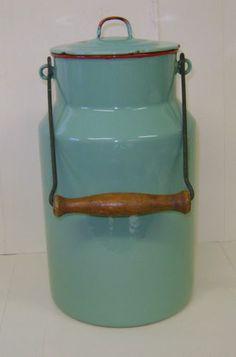 Awesome Original Vintage European Enamelware Large Pale Green Milk Can