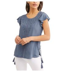 cc891d8e18b3 Time and Tru - Women s Flutter Sleeve Top - Walmart.com