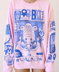 sweater pullover pink blue cute milkbbi sweatshirt kawaii pastel korean fashion kfashion girl mvp oversized pale girly japanese anime K-pop shirt creepy cute grunge asian coat fashions style fur fluffy gorgeous cozy warm fabric t-shirt Kawaii Pullover, Kawaii Sweater, Pullover Pink, Pink Sweater, Japanese Street Fashion, Asian Fashion, Look Fashion, Trendy Fashion, Kawaii Clothes