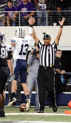 Riley Nelson high fives ref.  This make my husband crack up everytime!