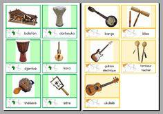 carte de nomenclature : les instruments des continents - La classe d'Eowin Maria Montessori, Montessori Materials, Montessori Activities, Banjo, Ukulele, Music Activities, Activities For Kids, Kids Homework, Les Continents