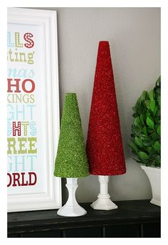 Glitter is my least fav crafting medium, but I love these glittery trees on the candlesticks....  Inexpensive and so pretty!