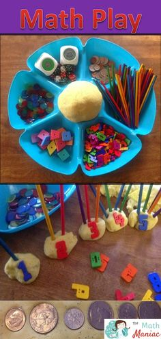 I love this idea - open ended math play! I suspect it might be good to have an adult near by to offer some suggestions and guidance. Might try this when we go back...