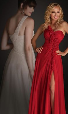 One Shoulder Red Prom Gown, Red Prom Dresses - Simply Dresses