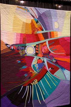 Modern Art Quilt - Flight of Fancy by Susan Wessels. 2012 PIQF, photo by Pieced Goods.