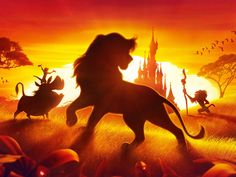 Simba, Timone, Pumba and Rafiki stood infront of Sleeping Beauty's castle during a sunset. Le Roi Lion Disney, Simba Disney, Walt Disney, Disney Lion King, Disney And Dreamworks, Disney Art, Lion King Video, Lion King 3, The Lion King 1994