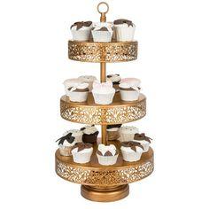 3 Tier Gold Dessert Cupcake Stand Amalfi Decor