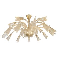 Murano Glass Gold Leaf 18-Light Chandelier with Floral Motif  - NY Showplace Antique and Design Center