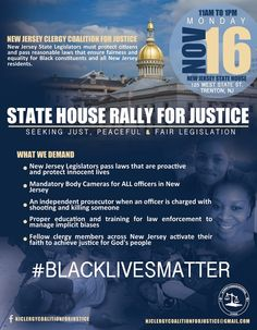 """AFRICAN AMERICAN REPORTS: """"State House Rally for Justice"""" New Jersey (#BlackLivesMatter)"""
