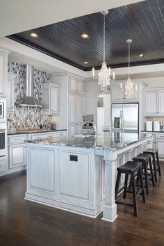 Pretty Kitchen Ceiling Lighting Design Ideas - This kitchen has a lovely lighting and space! They staging was great and the accent of the patterne - Kitchen Ceiling Design, Kitchen Ceiling Lights, Ceiling Light Design, Home Decor Kitchen, Interior Design Kitchen, Ceiling Ideas, Ceiling Lighting, Lighting Design, Kitchen Tray