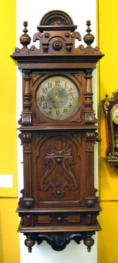 Oak symphonic musical wall clock by Lenzkirch, circa 1895