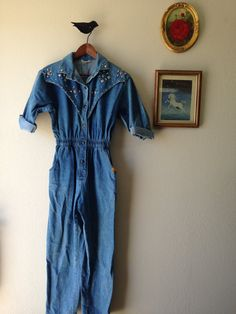 b497a62825 Vintage VTG Eighties 1980s 80s Dream Southwestern Country Denim Studded  Coverall Jumper Romper S. Backdrop IdeasJumpsuits1980sRompersOverallsWallpaper  ...
