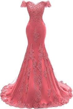 Himoda Women's V Neckline Beaded Evening Gowns Mermaid Lace Prom Dresses Long 2 Watermelon Prom Dresses Online, Event Dresses, Ball Dresses, Homecoming Dresses, Ball Gowns, Beaded Evening Gowns, Mermaid Evening Gown, Pretty Dresses, Beautiful Dresses