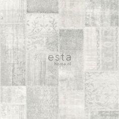 148329 krijtverf eco texture vliesbehang patchwork kelim grijs