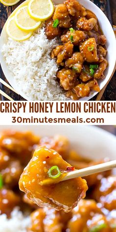 Crispy Honey Lemon Chicken is a restaurant-worthy meal, that can be made at home in just 30 minutes! #crispychecken #chicken #honey #lemon #30minutesmeals