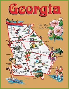 Pictorial travel map of Georgia Athens Georgia, Atlanta Georgia, 50 States Of Usa, United States, Fort Valley, North America Map, Wall Maps, Travel Maps, Viajes