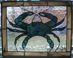 Maryland Blue Crab Stained Glass Panel by ClassActStainedGlass, $325.00