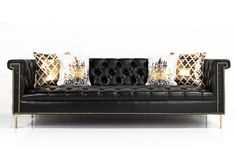 Sinatra Sofa in Faux Black Leather