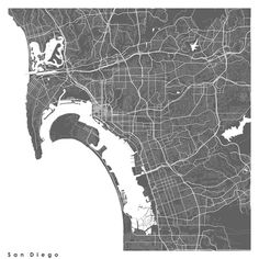 San Diego USA Modern Map Art Print Art Print